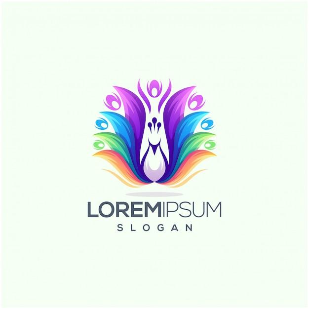 素晴らしい孔雀のロゴデザインベクトルイラスト