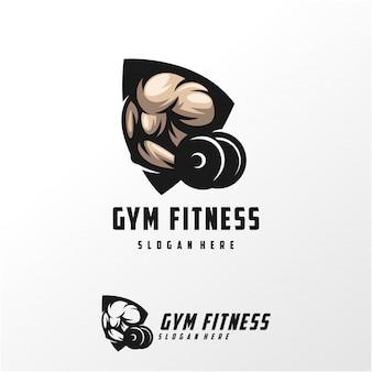 Мышцы логотип дизайн векторные иллюстрации шаблон