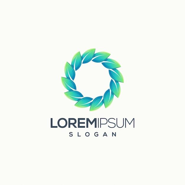 Крутой круг листьев логотип