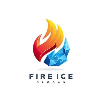 Огонь лед логотип вектор