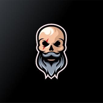 Череп борода дизайн логотипа готов к использованию