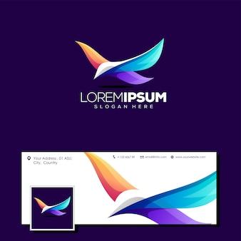 Красочная птица дизайн логотипа векторная иллюстрация