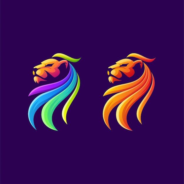 カラフルなライオンのロゴデザイン