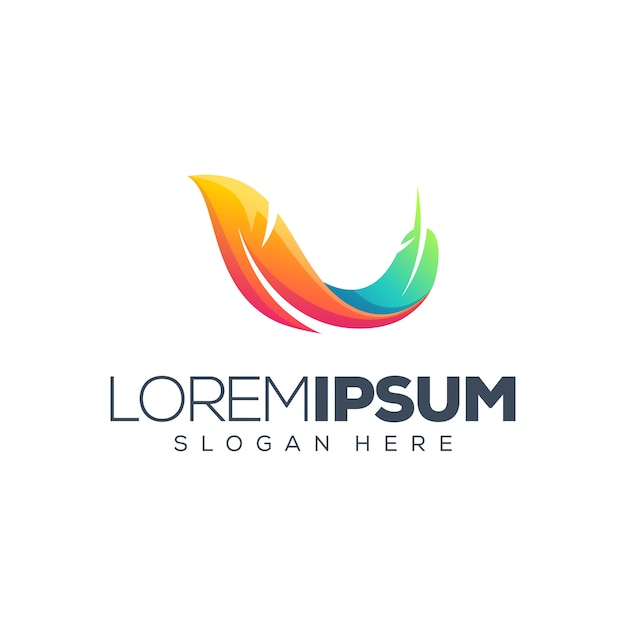 Перья дизайн логотипа векторная иллюстрация