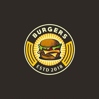 バーガーの黄色と暗いロゴ