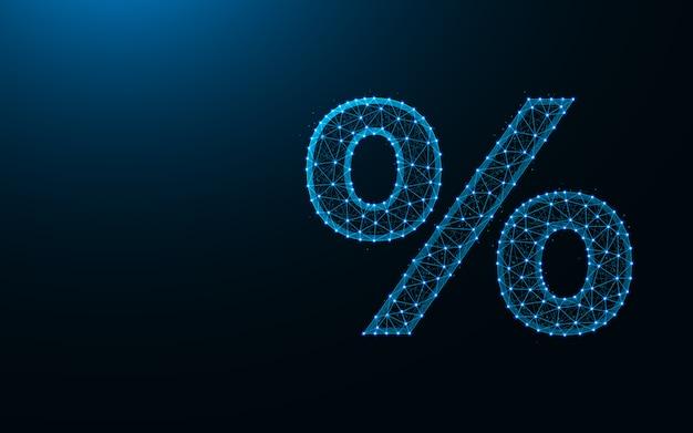 パーセント記号低ポリデザイン、抽象的な幾何学的なテンプレート、数百のワイヤフレームメッシュポリゴン背景