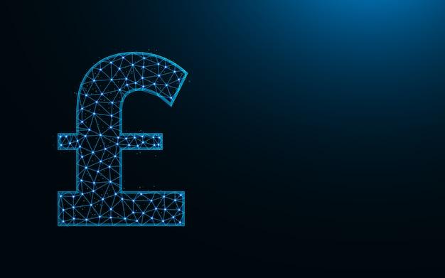 Символ фунта стерлингов низкий дизайн поли, валюта в многоугольном стиле