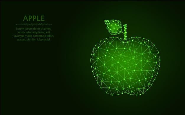 アップルの低ポリデザイン、フルーツワイヤフレームメッシュ多角形のベクトル図