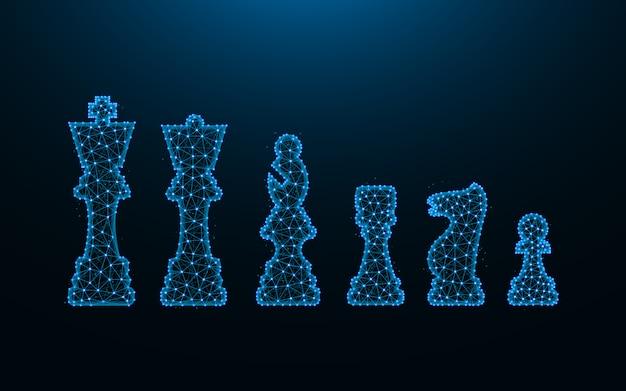 暗い青色の背景、多角形のワイヤフレームメッシュ上の点と線から作られたチェスマン
