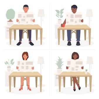 人々はテーブルに座って新聞を読む