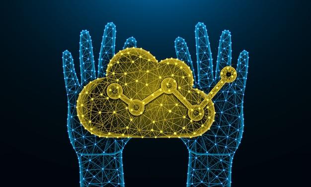 人間の手とクラウド分析の低ポリ