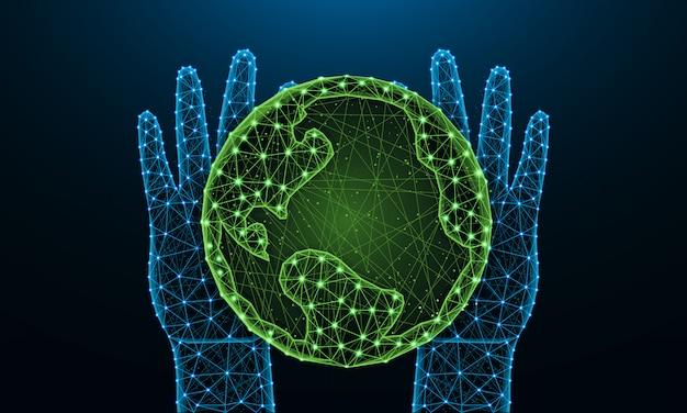 手と地球の低ポリ、多角形のスタイルで惑星を保存