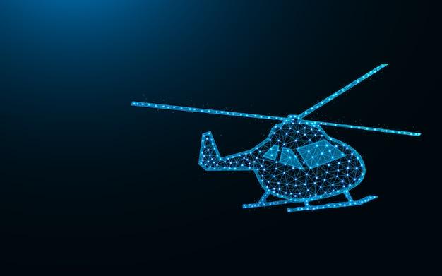 ヘリコプターの低ポリデザイン、航空輸送の抽象的な幾何学的画像、ヘリコプターワイヤフレームメッシュポイントとラインから作られた多角形のベクトル図