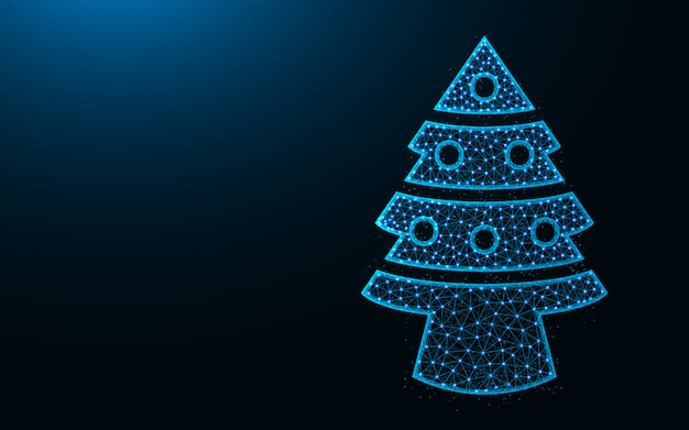 Рождественская елка низкополигональная дизайн, ель с игрушками абстрактное геометрическое изображение, каркасная сетка многоугольной векторная иллюстрация из точек и линий