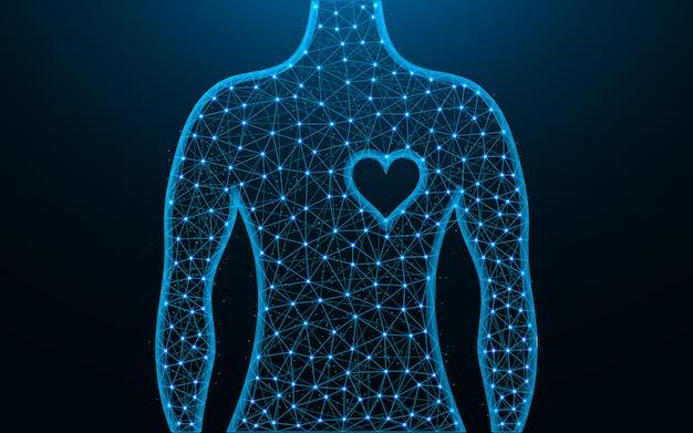 Человек и сердце символ низкополигональная дизайн, здоровье человека абстрактное геометрическое изображение, каркасная сетка многоугольной векторная иллюстрация из точек и линий