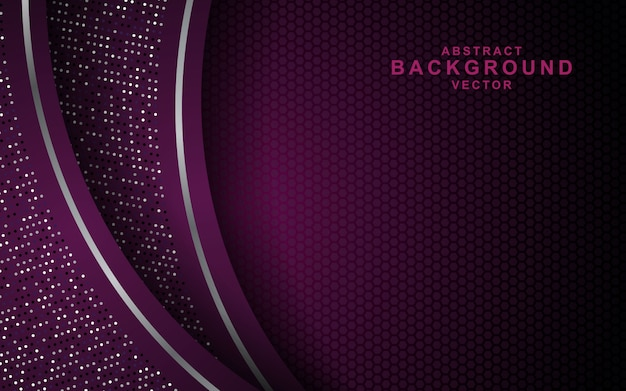 Темный абстрактный фон с фиолетовыми слоями перекрытия и блестит. текстура с отделкой серебряным эффектом