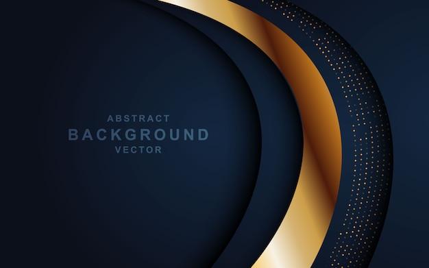 重なったレイヤーと光る暗い抽象的な背景。黄金の効果要素の装飾を持つテクスチャー
