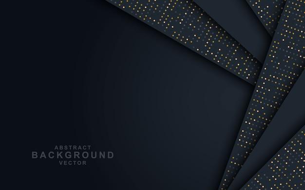 黒の重複層と光る暗い抽象的な背景