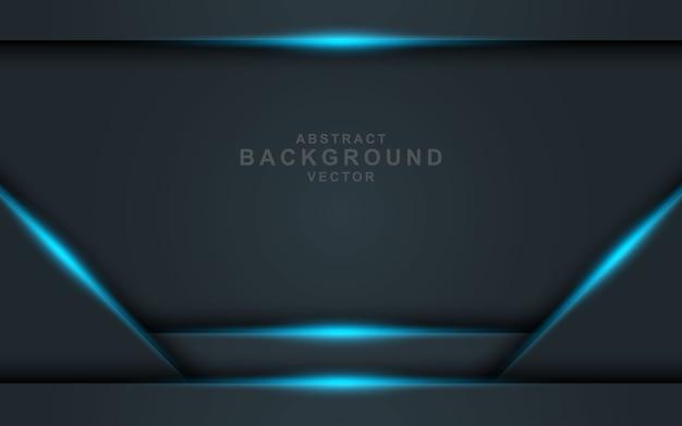 青い光の効果と黒のオーバーラップレイヤーと暗い抽象的な背景