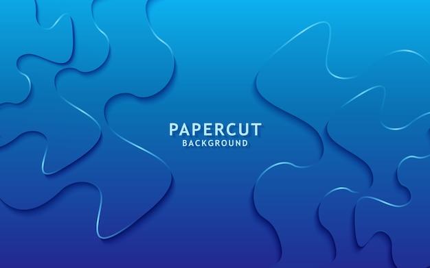 抽象的な現代的な青い紙カット背景。