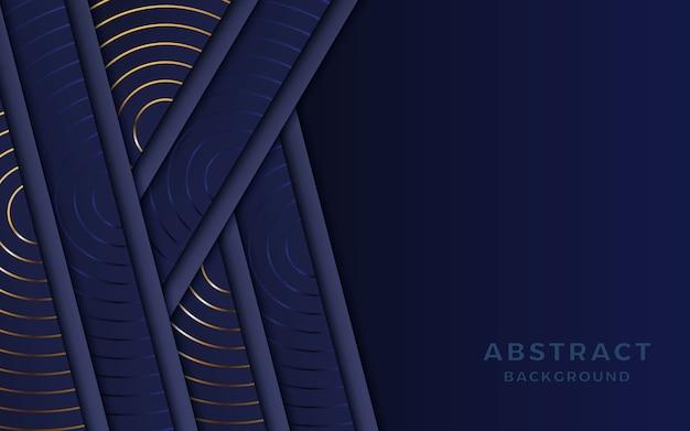 濃紺色の背景は、金色の装飾が施されたレイヤーに重なります。