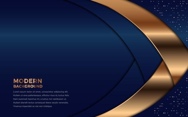 金色の要素の装飾と光る現代海軍の背景。