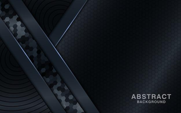 六角形の質感と黒の抽象的な背景。