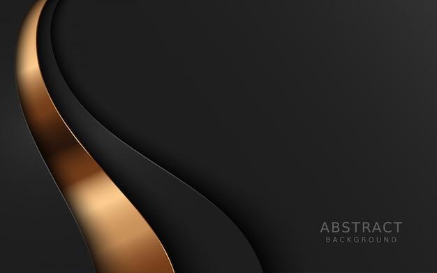 金色の形をした濃い灰色のレイヤー背景。