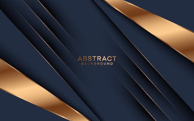 黄金の形の装飾と抽象的な暗い青色の背景。