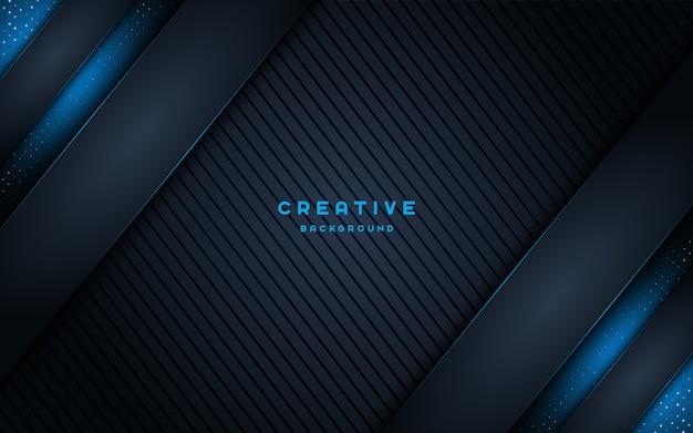 Творческий темный фон с голубой блестящий свет.