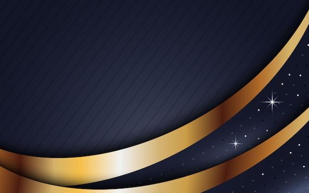 オーバーラップレイヤーと暗い抽象的な背景。黄金の効果要素の装飾を持つテクスチャー
