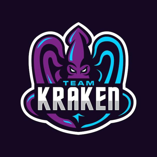 クラーケンチームスポーツのロゴのテンプレート
