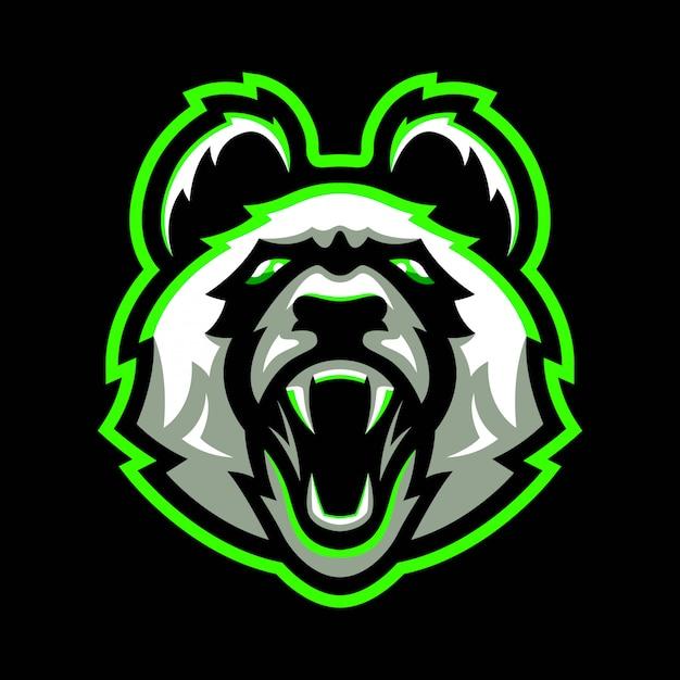 怒っているパンダのマスコットのロゴ