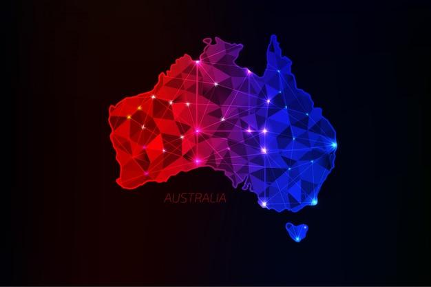 白熱灯とラインでオーストラリア地図多角形