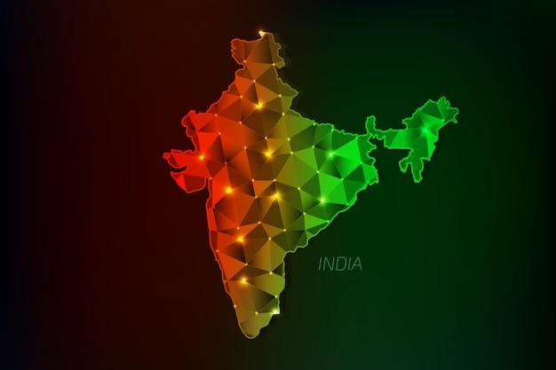 Карта индии, многоугольная со светящимися огнями