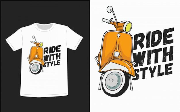 Ездить со стилем типографии для дизайна футболки