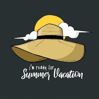 Летние каникулы типография рука надписи шляпы цитата