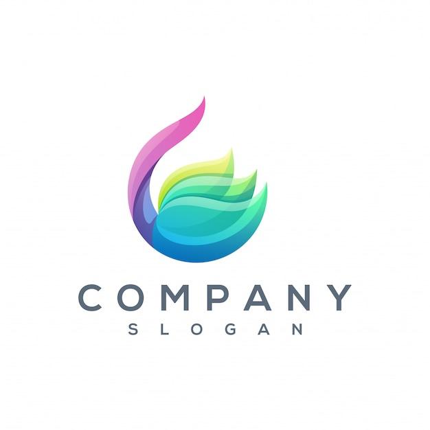 Красочный лотос логотип вектор