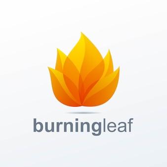 燃える葉のロゴ