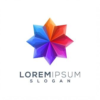 Красочный шаблон логотипа лотоса