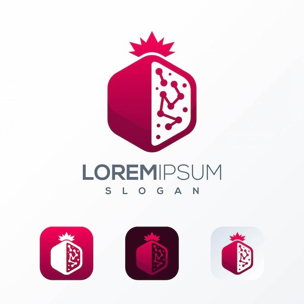Шаблон логотипа гранат технологий