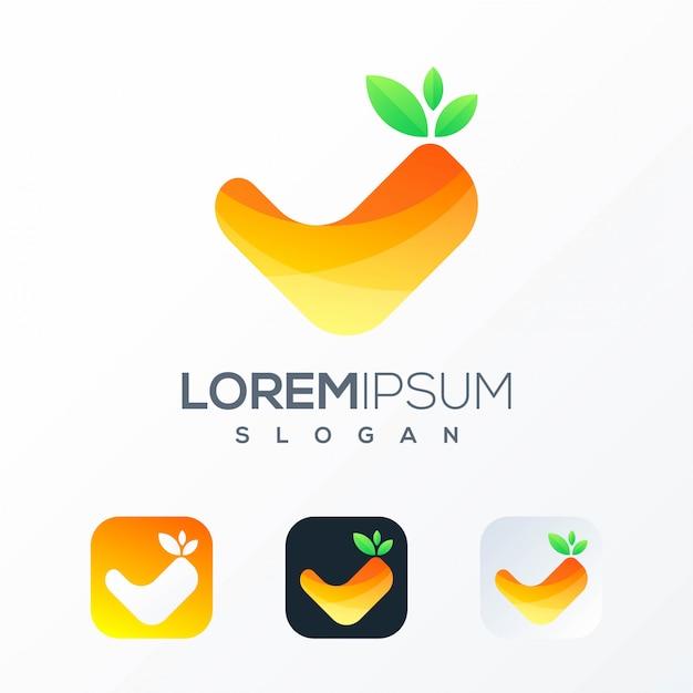 オレンジ色の正方形のロゴのテンプレート