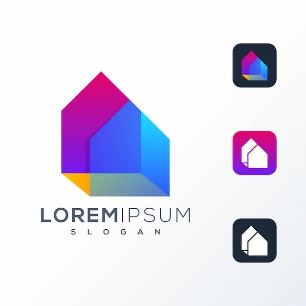 Красочный дизайн логотипа дома
