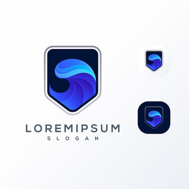 Волна щит логотип