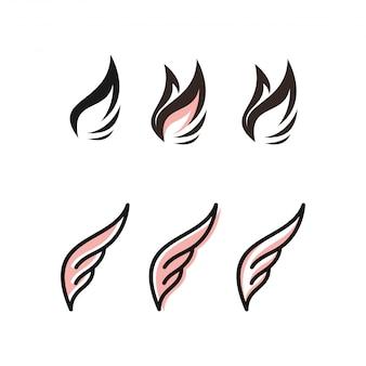 翼のロゴの束