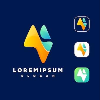 カラフルな山のロゴデザイン