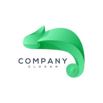 Хамелеон оригами стиль логотип вектор