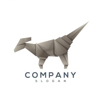 恐竜折り紙スタイルのロゴのベクトル