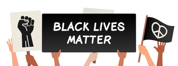 黒い生活問題、抗議バナーを保持している手ベクトルイラスト