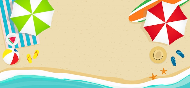 夏のビーチの背景、バナーのベクトル。